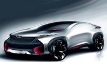Китайская   Chery показала эскиз  своего нового  футуристического  купе
